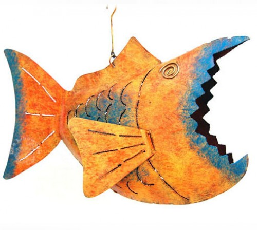 Laternenfisch Baracuda, orange/blau - ca. 38x25x8 cm