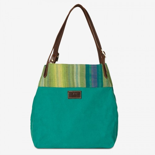 MISS EVE (Ha-Bsm46) - Canvas Umhängetasche/Shopper, stonewashed, mit Webstoff der Karen
